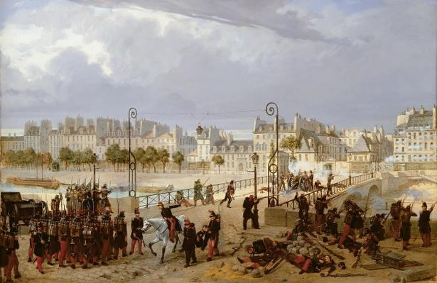 An Attack on a Barricade on the Pont de l'Archeveche, 1849