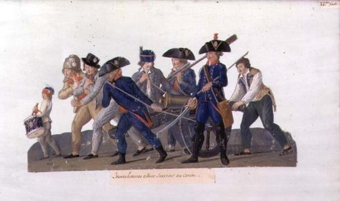 Young Men off to Practise using the Cannon, c.1789
