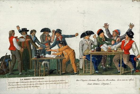 The Republican Oath being signed in blood and singing 'The Marseillaise', c.1792