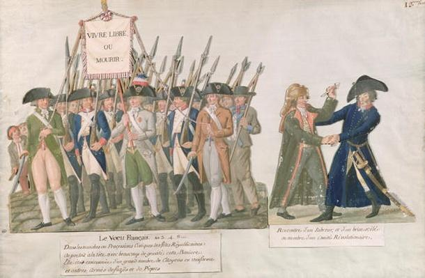 The French Vow 'Long Live Freedom or Die'; the Meeting of a Swordsman and a Member of the Revolutionary Committee, c.1789-92