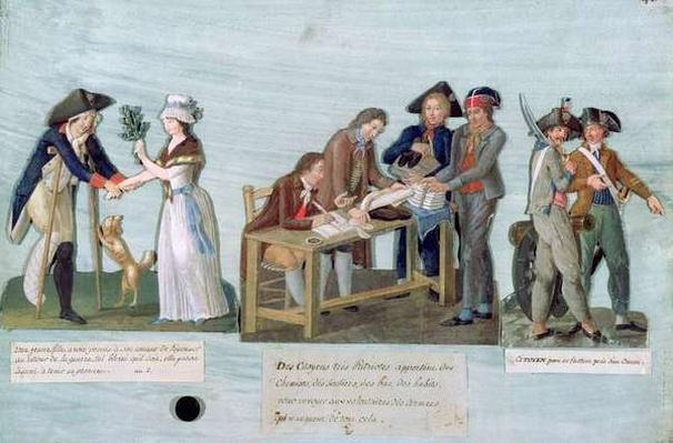A Woman Promising to Marry her Wounded Suitor after the War, Patriotic Citizens Donating their Clothes to the Fighting Volunteers and Guards near their cannon, c.1792