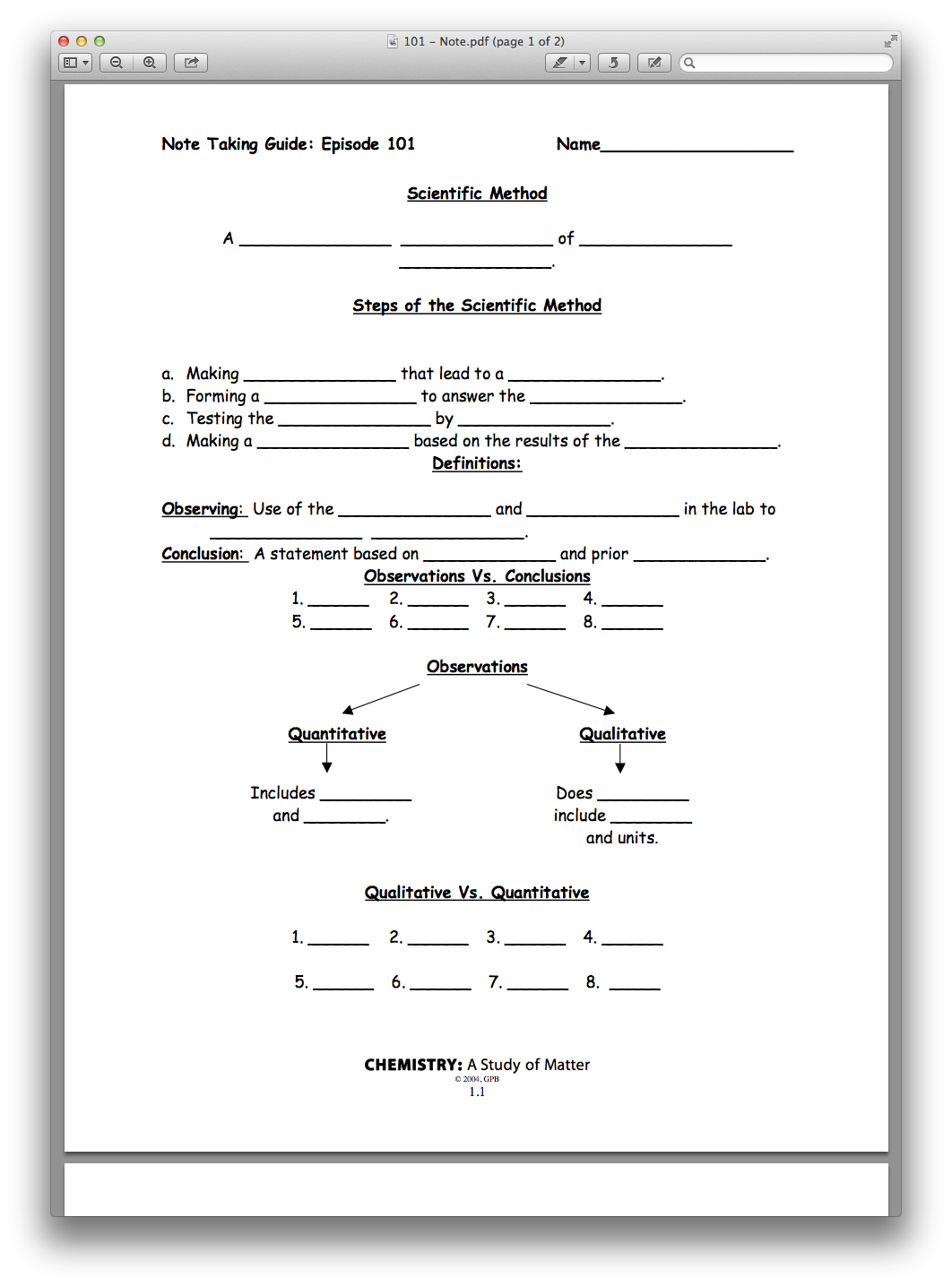 Chemistry Chapter 01, Lesson 01 - The Scientific Method