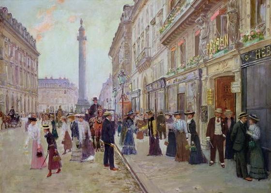 Workers leaving the Maison Paquin, in the rue de la Paix, c.1900