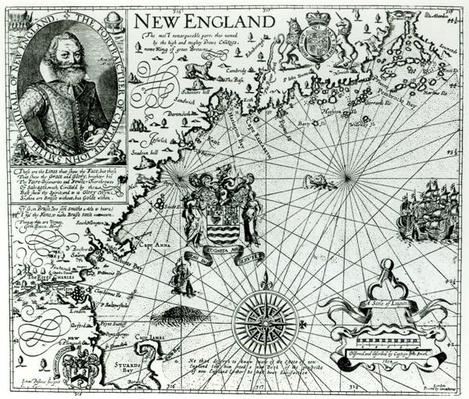 Map of the New England coastline in 1614, engraved by Simon de Passe
