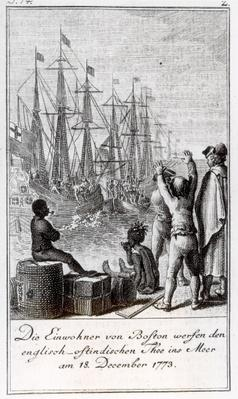The Inhabitants of Boston Throw English-East Indian Tea in the Sea, 18 December 1773