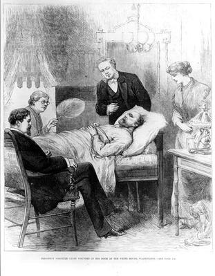 President Garfield Lying Wounded in his Room at the White House, Washington (engraving) (b&w photo) by American School, (19th century)