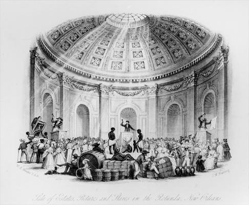 Sale of Estates, Pictures and Slaves in the Rotunda, New Orleans, engraved by J.M. Starling, 1842