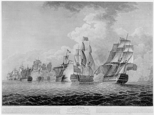 H.M.S.'Victory' bearing up in order to rake the 'Salvador del Munde', sea fight off Cape St. Vincent in 1797, engraved by James Fittler