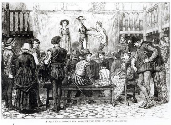 A Play in a London Inn Yard in the Time of Queen Elizabeth, engraved by Joseph Swain