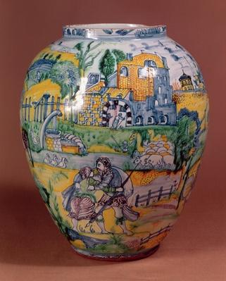 Nevers faience vase painted with scenes from the Old Testament