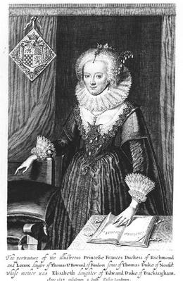 Portrait of Princess Frances, Duchess of Richmond and Lennox, engraved by Guilh, 1623