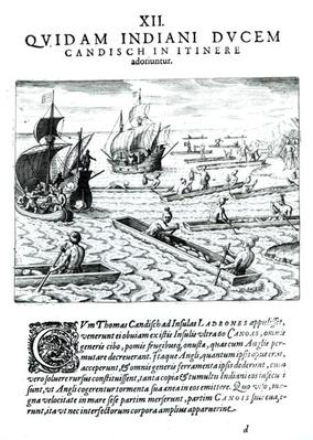 Expedition of Thomas Cavendish, from 'Americae', written and engraved by Theodore de Bry