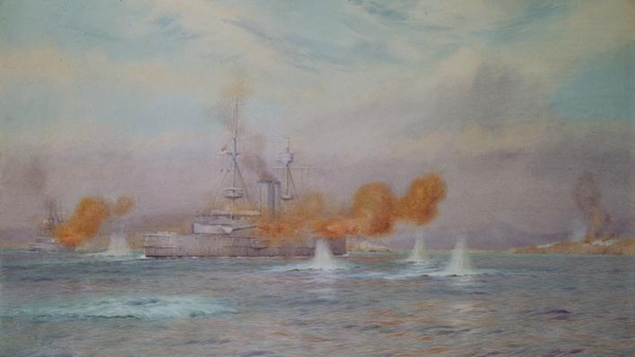 H.M.S. Albion commanded by Capt. A. Walker-Heneage completing the destruction of the outer forts of the Dardanelles in 1915, 1925