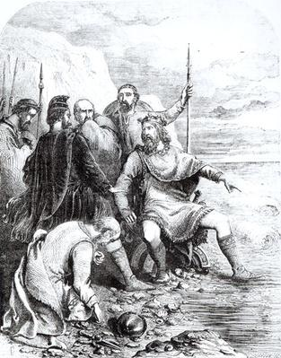 Canute Reproving the Flattery of his Courtiers, engraved by Pearson
