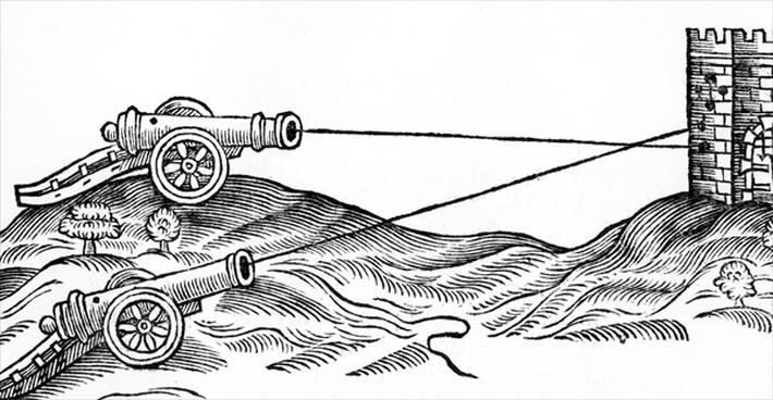 Illustration of Cannon Fire in 'The Art of Gunnery' by Thomas Smith