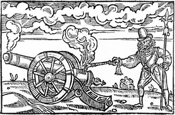 A Pikeman Lighting a Cannon