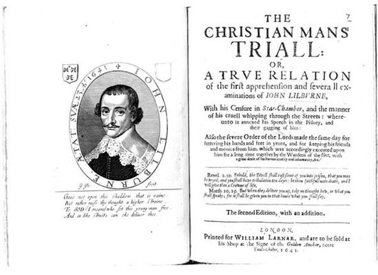 Frontispiece to 'The Christian Man's Trial' by John Lilburne