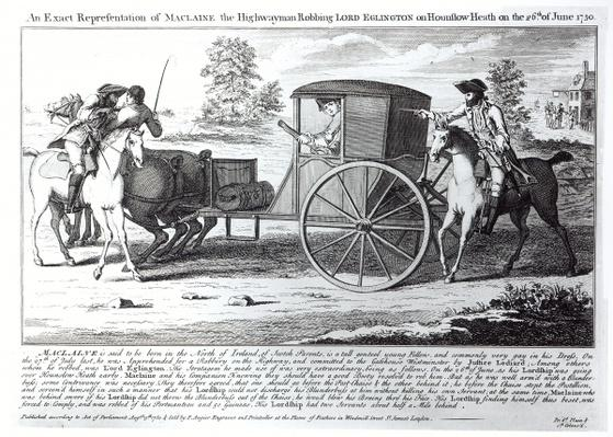 An Exact Representation of Maclaine the Highwayman Robbing Lord Eglington on Hounslow Heath on the 26th of June 1750