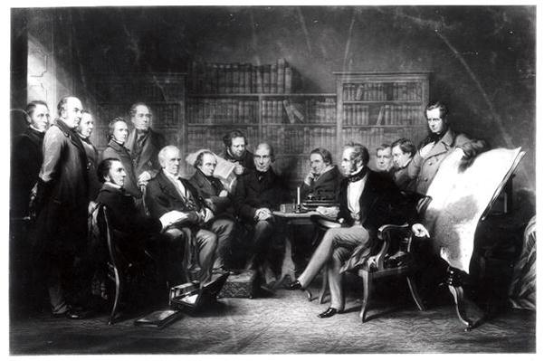The Aberdeen Cabinet, deciding upon the expedition to the Crimea, engraved by William Walker, 1857