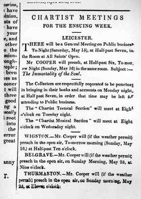 Notices for Chartist Meetings in the 'Midland Counties Illuminator', 15 May 1841