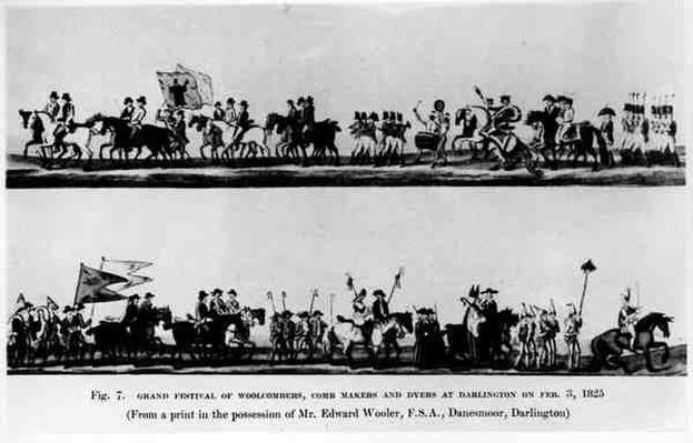Grand Festival of Woolcombers, Comb Makers and Dyers at Darlington, 3 February 1825