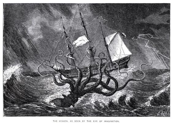 The Kraken, as Seen by the Eye of Imagination, illustration from John Gibson's 'Monsters of the Sea', 1887