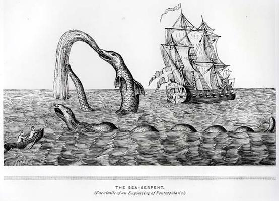 The Sea Serpent, facsimile of an engraving of Pontoppidan's, illustration from John Gibson's 'Monsters of the Sea', 1887