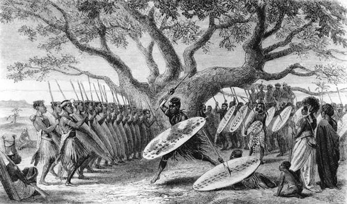 Dance of the Landeens, or Zulus, Arrived at the Shupanga to Lift the Annual Tribute of the Portuguese, engraved by Josiah Wood Whymper