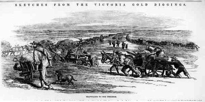 Travelling to the Diggings, from 'Sketches from the Victoria Gold Diggings'