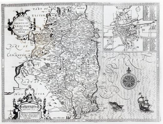 The County of Leinster with the City of Dublin Described, engraved by Jodocus Hondius
