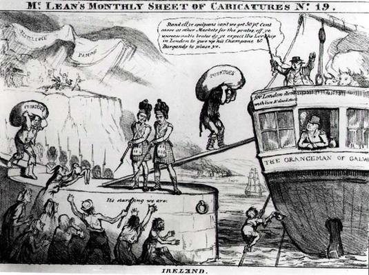 Satirical Cartoon About the State of Ireland in the 1830s, from McLean's Monthly Sheet of Caricatures, Number 19