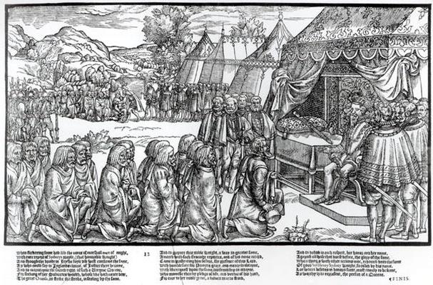 Turlough Lynagh O'Neale and the other kerne kneel to Sidney in submission, plate 12 from 'The Image of Ireland' by John Derricke, 1581
