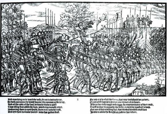 Sidney and the English army on the march with standards and trumpets, plate 8 from 'The Image of Ireland' by John Derricke, 1581