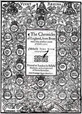 Frontispiece of 'The Chronicles of England' by John Stow