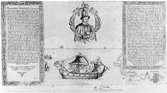 The Black Pinnace Bringing Sir Philip Sidney's Body Back to London, pub. in 1588