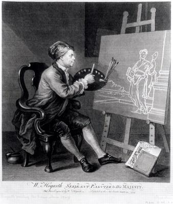 Self Portrait Painting the Comic Muse, engraved by the artist, pub. 1758