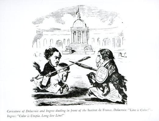 Caricature of Delacroix and Ingres duelling in front of the Institut de France, c.1828