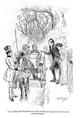 'Mr. Collins and Charlotte were both standing at the gate in conversation with the ladies'