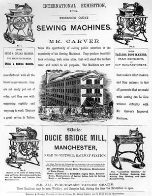 Advertisement for the International Exhibition of Mr Carver's Sewing Machines, 1862