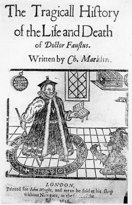 Frontispiece of 'The Tragicall History of the Life and Death of Doctor Faustus', by Christopher Marklin, c.1616