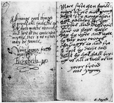 Page of manuscript showing the signature of Queen Elizabeth I