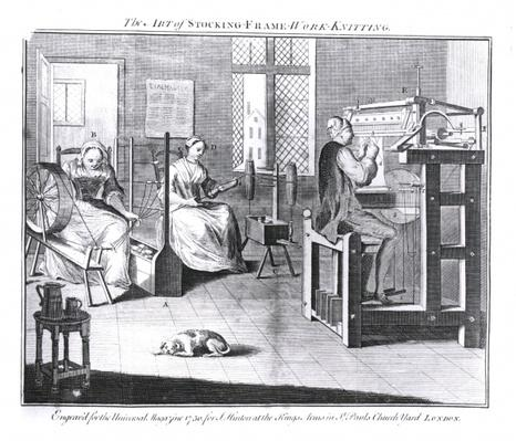 The Art of Stocking-Frame-Work-Knitting, engraved for 'The Universal Magazine, 1750