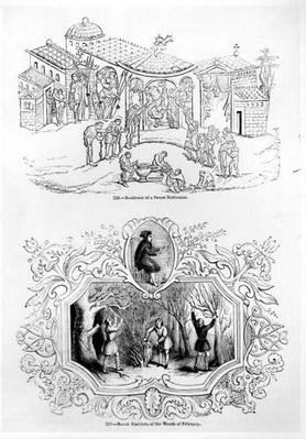 Residence of a Saxon Nobleman and the Saxon Emblem for the Month of February