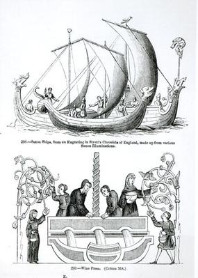 Saxon Ship, from an engraving in Strutt's 'Chronicle of England' and a Wine Press
