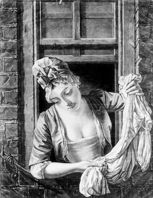 Woman wringing washing