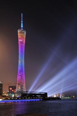 Canton Tower with Rainbow lights  | Monuments and Buildings