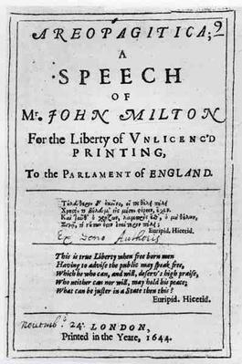 Frontispiece of 'Areopagitica', a speech of John Milton