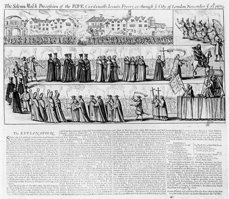 The Solemn Mock Procession of the Pope, Cardinals, Jesuits and Fryers Through the City of London on 'Queen Elizabeth's Day', 17th November 1679