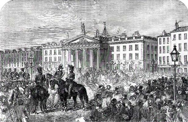 Sackville Street in Dublin during the Rebellion in 1847