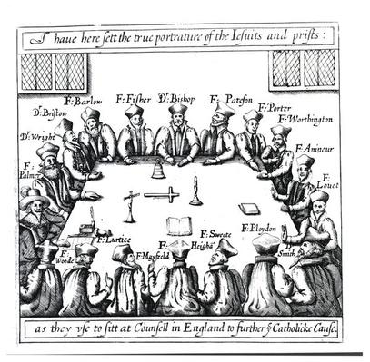 Portraits of the Jesuits and Priests as They Use to Sit in Counsel in England to Further the Catholic Cause